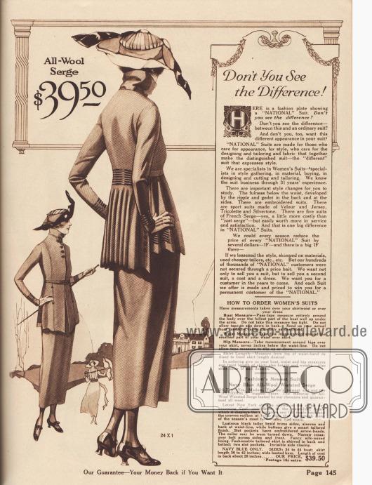 """""""Sie sehen den Unterschied, nicht wahr?"""" (engl. """"Don't You See the Difference!""""). Beginn der Abteilung für geschneiderte Damenkostüme mit einem kurzen Überblick über die neuesten Modemerkmale und eine Begründung, warum National Kostüme der Konkurrenz überlegen sind (siehe Text im Kasten). Ein besonders exklusives Kostüm aus marineblauem Woll-Serge für 39,50 Dollar. Modisch sind bei der Kostümjacke der in wellige Falten gelegte, glockige Schoß und die verlängerte Rückenpartie. Horizontale schwarze Tressen zieren die Taille und die seitlichen Jackenschöße. Durch den Rücken geführter, unsichtbarer Gürtel sowie konvertierbarer Kragen."""