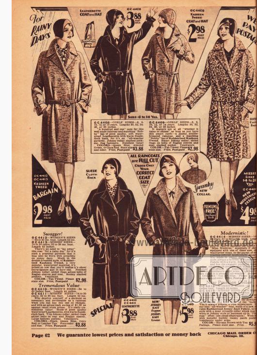 Regenmäntel für Frauen, junge Damen (Backfische) und Mädchen zwischen 6 und 14 Jahren. Die Regenmäntel sind hergestellt aus gummierten Stoffen wie Kasha-Tweed, Jersey sowie Leder. Oben rechts wird ein Modell mit modernistischer Musterung für junge Frauen präsentiert.