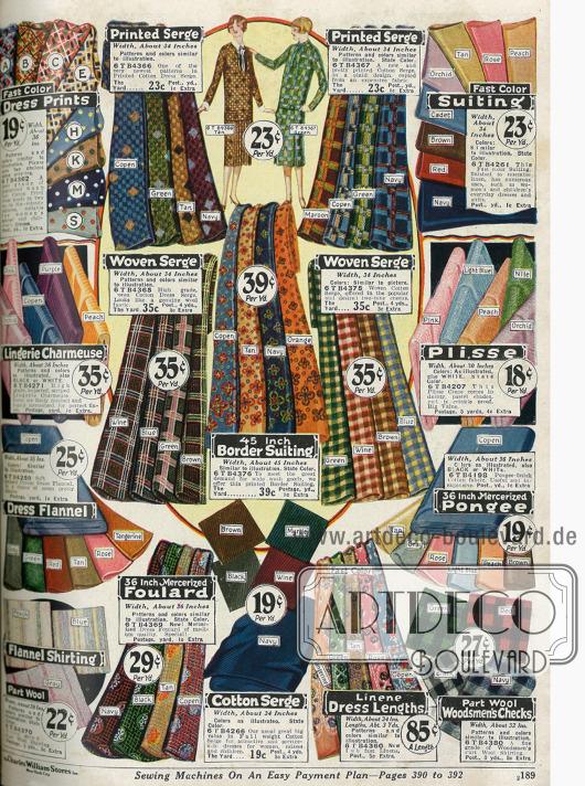 Verschiedene Stoffe wie Baumwolle, Serge, Charmeuse, Flanell, merzerisierter Foulard und Pongee, Leinen und Wolle.