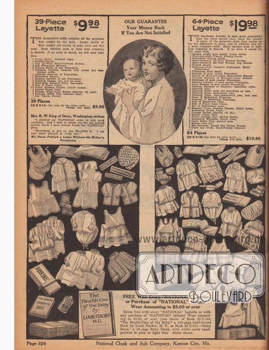 """Eine 64- und eine 39-teilige Säuglings-Erstausstattung für 19,98 bzw. 9,98 Dollar bestehend aus Baumwoll-Hemdchen, Bändern aus Flanell, handgehäkelten Babyschuhen, Strick-Jäckchen, Flanell-Jäckchen, weichen, langen Schlafhemdchen und Kleidern, langen Unterröcken (Petticoats) aus Flanell und Nainsook, Unterhemdchen aus Nainsook, bestickten Babykleidern mit Biesen und Rüschen, Baumwoll-Lätzchen mit Wabenmuster, einer Bürste und ein weicher Schwamm, Talkumpuder (Babypuder), Sicherheitsnadeln, Windeln aus Baumwolle (""""Birdseye Diapers""""), einer dreieckigen Steppdecke, Babyhöschen bzw. Windelhöschen aus gummiertem Nainsook sowie einer einseitig gummierten Decke.  Des Weiteren wird unten ein Buch mit dem Titel """"The Health Care of the Baby"""" (dt. """"Die Gesundheitsfürsorge für das Baby"""") von Louis Fischer M. D. kostenlos zu jeder gekauften Babyausstattung mitgeliefert."""