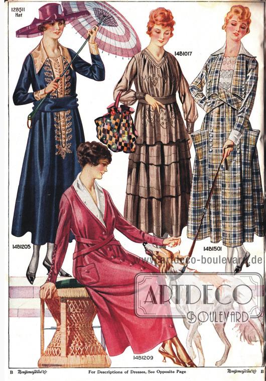 Kleider in verschiedenen Preisklassen von 5,98 bis 24,98 $. Die teureren Kleider sind mit aufwendigen Maschinenstickereien versehen.
