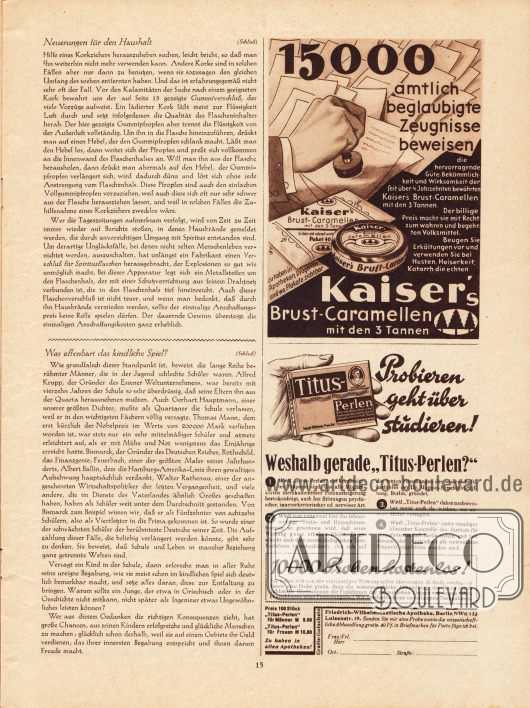 Artikel: O. V., Neuerungen für den Haushalt; O. V., Was offenbart das kindliche Spiel? Werbung: Kaiser's Brust-Caramellen (Hustenbonbons); Titus-Perlen (Sexualhormon)