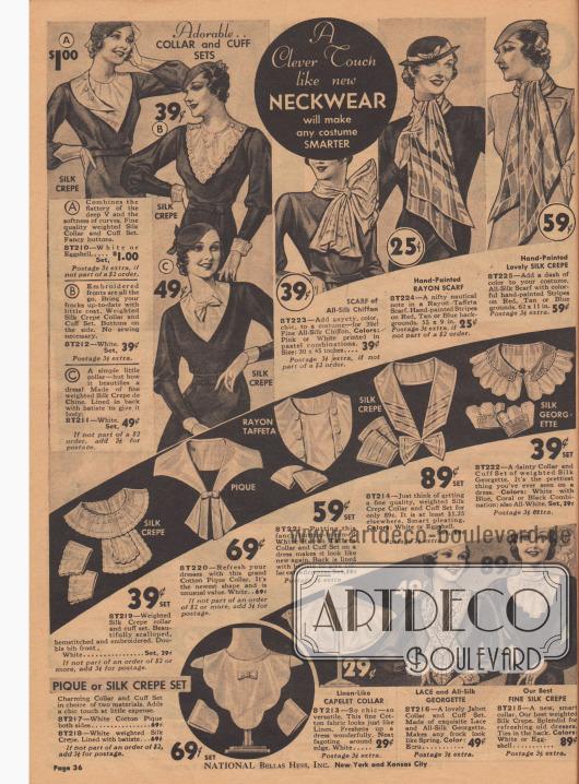 """Kragen und Ärmelaufschläge zum Annähen an der selbst geschneiderten oder gekauften Kleidung. Auch ein neuer Schal """"macht jedes Kleid eleganter""""."""