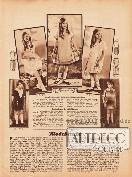 Artikel:Pl., J., Modebericht.9137: Hemdkleidchen aus weißer Waschseide mit bestickter Tasche für Mädchen von 6 bis 8 Jahren. Zierliche Bandschleifen in der vorderen Mitte. Umschürzte Ränder.9138: Sommerkleid aus schwarz-weiß gemustertem Voile mit schwarzem Spitzenbesatz für Mädchen von 6 bis 8 Jahren. Die Vorderbahn zeigt eine in bunten Farben gestickte Ranke.9139: Hemdkleidchen aus mattblauem Crêpe de Chine mit breitem weißen Tüllspitzenkragen für Mädchen von 6 bis 8 Jahren. Um den Ausschnitt gereiht, zeigt das niedliche Modell kurze eingesetzte Ärmelchen.9140: Eleganter Samtanzug für Knaben von 4 bis 6 Jahren. Für den weißen Aufputz ist Batist oder Crêpe de Chine zu empfehlen.9141: Niedlicher Kittelanzug aus kariertem Woll- oder Waschstoff für Knaben von 4 bis 6 Jahren. Kragen und Aufschläge in Weiß.Fotos: Press Photo.