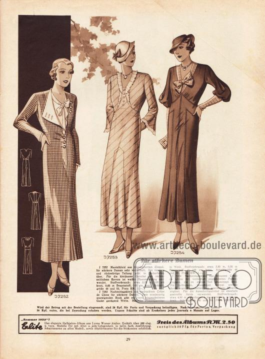 """""""Für stärkere Damen"""". 7252: Mantelkleid aus kleinkariertem Cloqué, für stärkere Damen sehr vorteilhaft. Die vordere und rückwärtige Teilung geht in Fächerfalten über. Für die kleidsame Garnitur mit rechtsseitlichem Revers ist weißer Hammerschlag verwendet. 7253: Nachmittagskleid aus bedrucktem Crêpe de Chine für stärkere Damen. Dem miederartig ansteigenden Rock gibt ein vorn eingearbeitetes Godet genügend Weite. Hübsche Plisseegarnitur in Weiß. 7254: Nachmittagskleid aus braunem Crêpe de Chine mit vorteilhaft angeordneten Faltengruppen, die im oberen Teil abgesteppt sind. Die halblangen, bauschigen Ärmel werden durch enge Manschetten aus gestreiftem Material ergänzt. Für die Ausschnittgarnitur ist ebenfalls gestreifte Seide verwendet."""