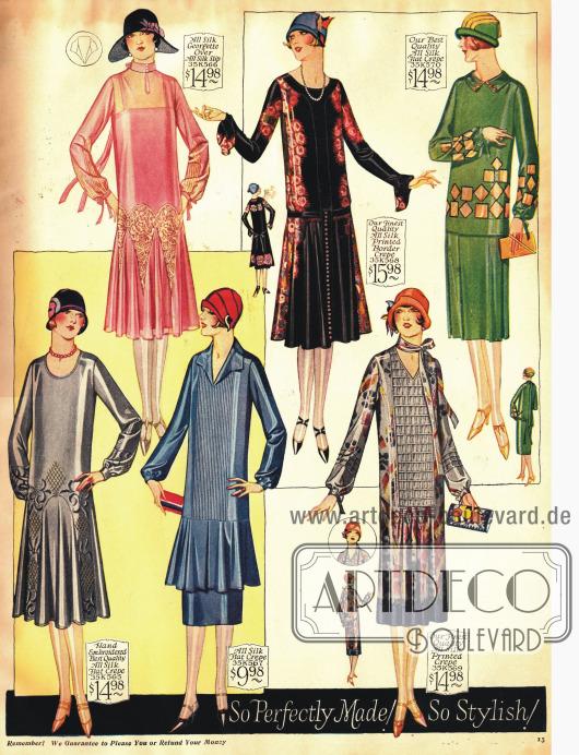 Die Röcke dieser Kleider bedecken noch deutlich die Knie. Trotz ihrer Einfachheit zeigen die Kleider aber reiche Variationen im Detail.