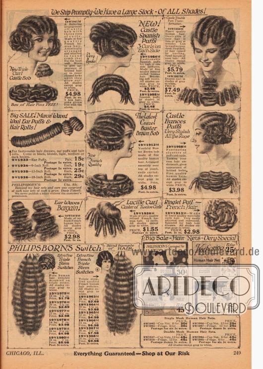 Doppelseite mit Haarteilen, Locken und Haarrollen in verschiedenen Längen, die in allen Haarfarben außer Grau und Weiß bestellbar sind. Links unten befinden sich schmuckvolle spanische Haarkämme und ein Haarfärbemittel, ein Pflegeshampoo für fettige Kopfhaut und ein Färbeset für Augenbrauen und Wimpern. Unten rechts werden Haarnetze aus menschlichem Haar angeboten.