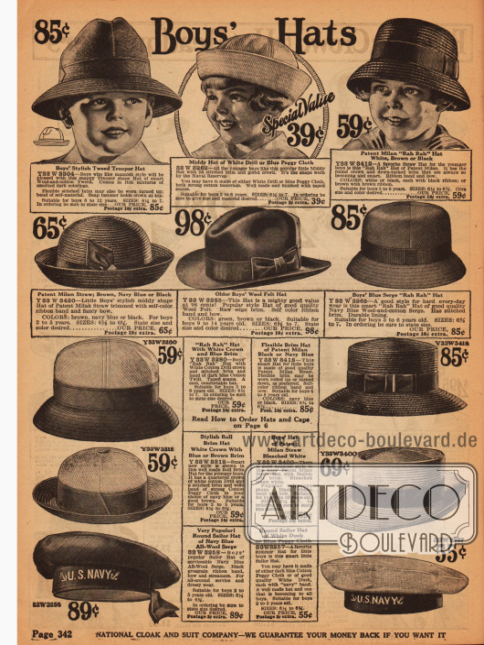 Hüte für Jungen aus Filz und Stroh mit umklappbaren Krempen. Für kleine Jungs sind die Hüte im Marine-Stil (unten) vorgesehen.