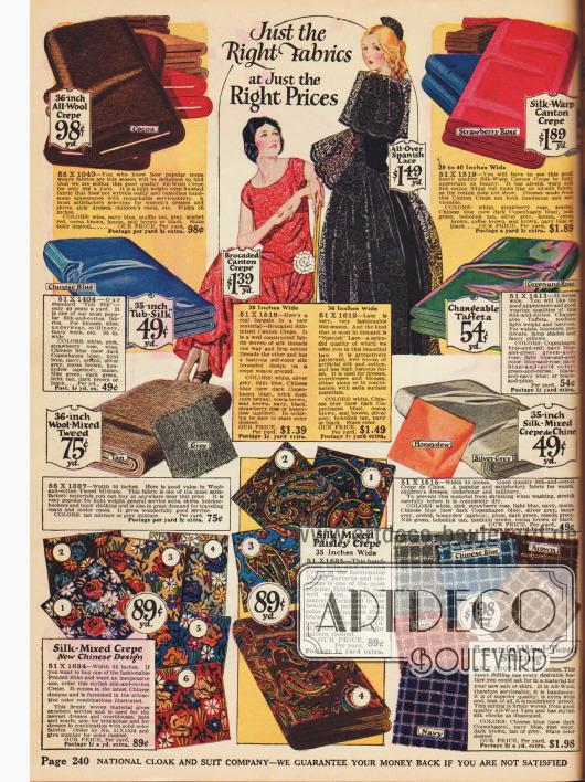 Kreppstoffe, Tweed, Spanische Spitze und Seide mit Floralen- und Paisleymusterungen.