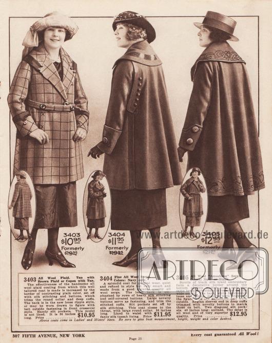 3403: Reine Wolle mit Schottenkaro. Hellbraun mit braunem Karo oder Kopenhagen Blau mit Hellbraun. Die Wirkung des schönen Wollkaros, aus dem dieser gut geschnittene Mantel gefertigt ist, wird durch die mit Seidenstickerei und Knöpfen abgesetzte kontrastierende einfarbige Borte erhöht, die den Rundkragen und die tiefen Manschetten abschließt. Der Rücken ist im neuen, lockeren welligen Stil gehalten oder kann, wenn gewünscht, mit einem Gürtel vorne im Überkreuz-Stil figurbetont getragen werden. Praktische Schlitztaschen. Dieses Modell ist nicht gefüttert. Es ist 36 Zoll lang. Ehemals 19,95 $. Preis… 10,95 $. 3404: Reiner, hochwertiger Woll-Serge. Farben: Nur Marineblau. Ein prächtiger Mantel für den allgemeinen Gebrauch, ruhig und raffiniert im Stil, aber sehr elegant und aus gutem, hochwertigem und haltbarem Woll-Serge gefertigt. Der locker gearbeitete Rücken wird durch Reihen von schweren Seidenstichen und mit Mantelstoff bezogenen Knöpfen betont. Große neuartige Knöpfe dienen als Verschluss und zieren die abgesteppten Manschetten. Die Schlitztaschen sind mit Seidenstichen abgesetzt. Dieser Mantel schließt bis zum Hals, mit großem Rundkragen. 36 Zoll lang. Gefüttert bis zur Taille mit schickem Seiden-Tussah. Ehemals 19,95 $. Preis… 11,95 $. 3405: Reiner Amoskeag Woll-Serge. Farben: Marineblau oder Schwarz. Die schwarze Schnurstickerei aus Seide bildet eine dekorative Borte um den unteren Teil dieses modischen Mantels. Dieselbe Stickerei wiederholt sich auch am breiten Kragen. Der Rücken ist zwar modisch locker und ausladend, kann aber mit dem verstellbaren Gürtel über dem Mantel figurbetont getragen werden. Die Raglanärmel enden in breiten Manschetten, die mit den gleichen Knöpfen wie der Gürtel verziert sind. Zwei schräg eingelassene Eingrifftaschen. 40 Zoll lang; ungefüttert. Der Serge ist komplett aus Wolle und von sehr guter Qualität. Ehemals 19,95 $. Preis… 12,95 $.  Obige Mäntel gibt es in Damen- und Fräulein-Größen. Bitte geben Sie unbedingt Brustumfang, Grö