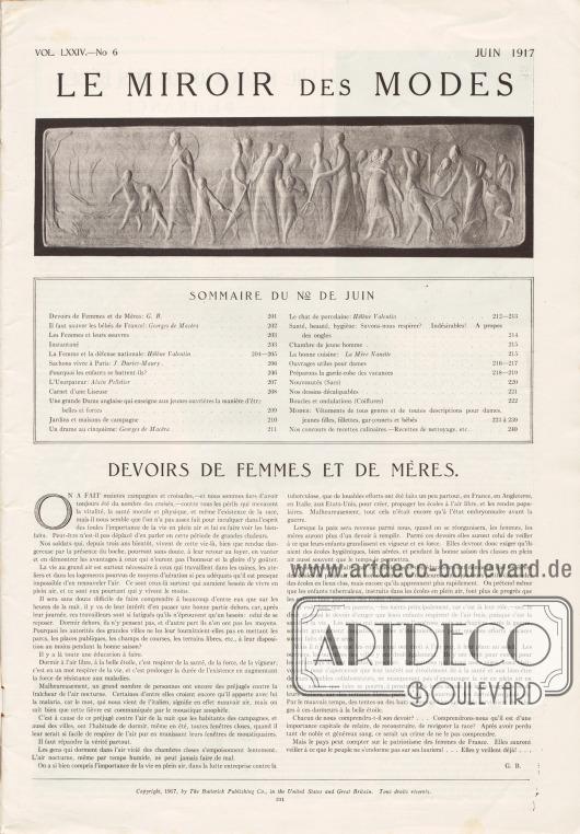 Inhaltsverzeichnis der Juni Ausgabe der Zeitschrift Le Miroir Des Modes von 1917.Artikel:B., G., Devoirs de Femmes et de Mères.