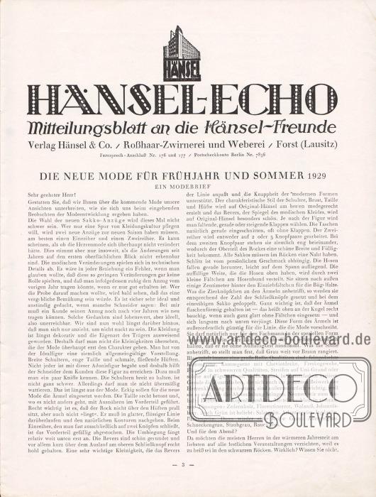 Artikel: Henschke, Bruno, Die neue Mode für Frühjahr und Sommer 1929. Ein Modebrief.