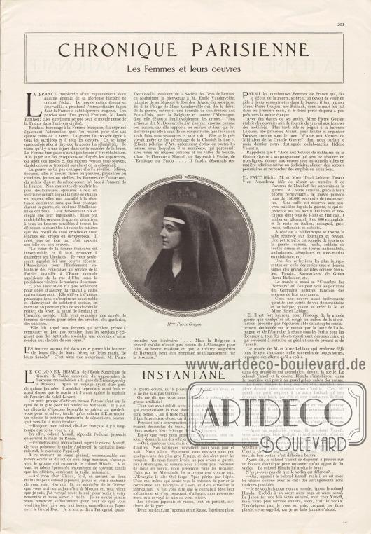 Artikel:O. V., Les Femmes et leurs œuvres&#x3B;O. V., Instantané.Mit einem Foto von Madame Pierre Goujon.Foto: unbekannt.