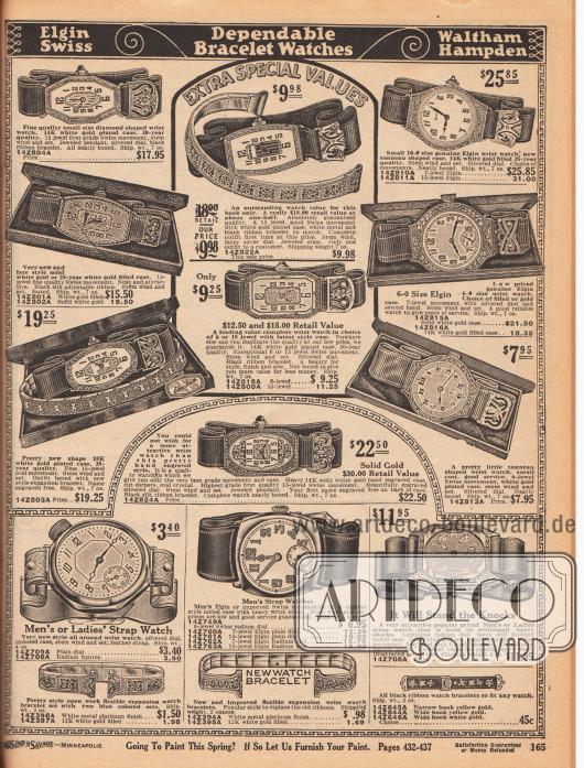 Armbanduhren für Damen (oben) und Herren (unten). Die Damenarmbanduhren sind feiner und zierlicher gearbeitet und besitzen schmalere Armbänder, die Armbanduhren für Herren sind grober und wuchtiger gehalten. Einige der Modelle sind Uhren der Marke Elgin (Elgin National Watch Company, Produktion von 1864-1968 in den USA). Einzelne Ziffern und Zeiger der Uhren sind aus der Schweiz importiert. Die teureren Modelle sind aus Weißgold mit reich verzierten Gehäusen. Die Gehäuse der günstigeren Modelle sind aus versilbertem Nickel. Zudem werden auch Armreife für Frauen hier angeboten.