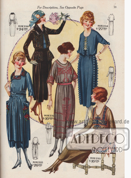 Kleider für junge Damen mit reichen Stickereien; einige Modelle auch mit tief angesetzter Taille und höherer Gürtellung.