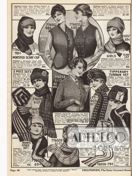 """Strickmützen und Schals aus Angora-Wolle und normaler Wolle zu günstigen Preisen. Eine ungewöhnliche Idee ist die einteilige Schalmütze für 98 ¢ oben links. Taillen- oder hüftlange Strickwesten (oben Mitte) sowie eine kurze """"Spencer"""" Strickjacke (Mitte) halten warm."""