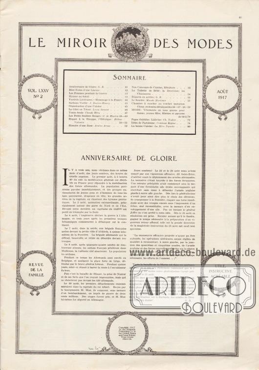 Inhaltsverzeichnis der August Ausgabe der Zeitschrift Le Miroir des Modes von 1917. Artikel: B., G., Anniversaire de Gloire.