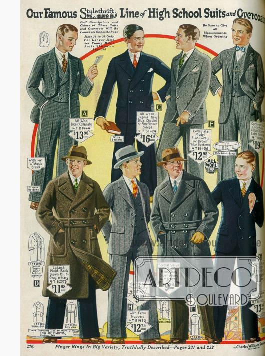 Anzüge und Ulstermäntel für Jungen im Oberschulalter.