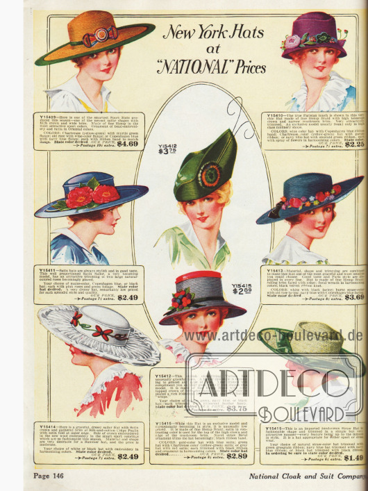 Zusammenstellung unterschiedlichster Hutkreationen zu moderaten Preisen; hier ist für jeden Geschmack - egal ob extravagant oder schlicht - etwas dabei.