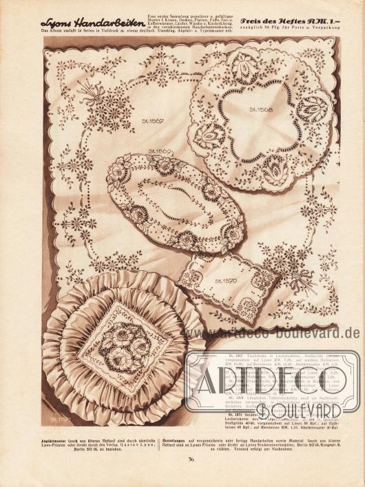 St 1567: Tischdecke in Lochstickerei. Stoffgröße 160/160 cm, vorgezeichnet auf Linon, Halbleinen oder Reinleinen. St 1568: Milieu in Loch- und Richelieu-Arbeit, Durchmesser 77 cm, vorgezeichnet auf Linon oder Halbleinen. St 1569: Ovale Decke mit Rosenmotiven in Richelieu- und Lochstickerei, Stoffgröße 50/80 cm, vorgezeichnet Linon oder feinem Halbleinen. St 1570: Längliches Tablettdeckchen, auch als Nachttischdeckchen verwendbar, in Lochstickerei und venezianischem Richelieu. Stoffgröße 33/55 cm, vorgezeichnet auf Linon oder Halbleinen. St 1571: Seidenkissen mit Stickereiplatte in Richelieu- und Lochstickerei sowie Langettenabschluss, 35 cm in Quadrat. Stoffgröße 40/40 cm, vorgezeichnet auf Linon, Halbleinen oder Reinleinen.