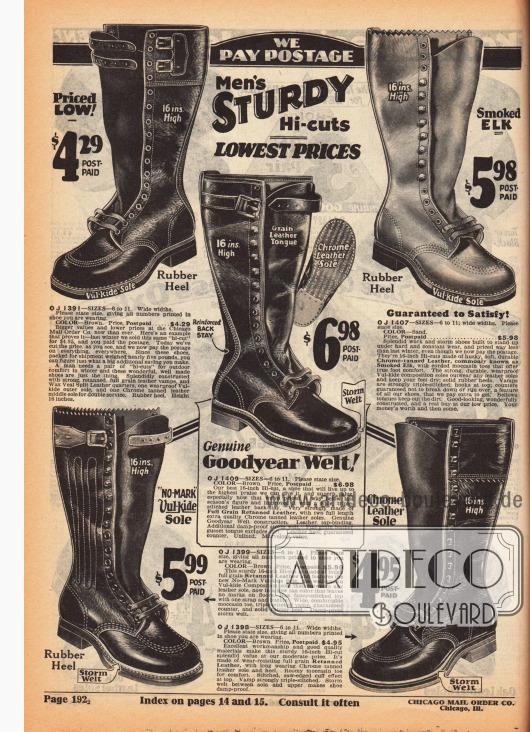 Langlebige, hochgeschlossene Schlechtwetter- und Arbeitsstiefel für Männer aus schweren, nachgegerbten Ledersorten. Die Stiefel zeigen Mehrfachnähte und vulkanisierte Gummisohlen, die bis oben geschnürt werden und am Schaft mit Riemen geschlossen werden.