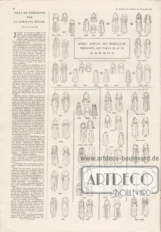Artikel: Comtesse Régine, Idées de parisienne par la comtesse régine. Auf dieser Seite befinden sich die Vorder- sowie die Rückansichten der Modelle der Seiten 20-23 und 28-31.