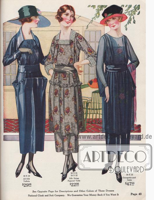 Exquisite Damenkleider aus sommerlichem Seiden-Taft, Seiden-Voilestoff und Georgette-Satin. Die bauschig aufgearbeiteten Taschen des linken Kleides sind typisch für die hüftbetonte Silhouette des Jahres 1920.
