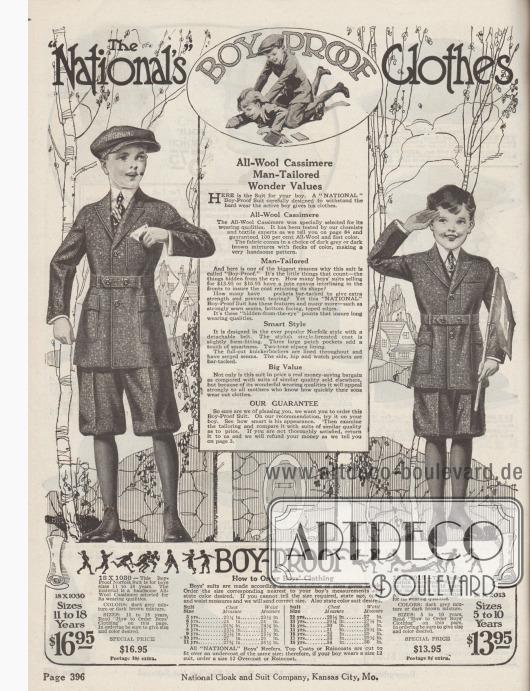 """""""Die knabensichere Kleidung von National"""" (engl. """"The National's Boy-Proof Clothes""""). Beginn der Abteilung für Jungen-Anzüge mit Hervorhebung der Vorzüge der von der National Cloak & Suit Company angebotenen Jungenkleidung. Zwei Schul- und Straßenanzüge im Norfolk Stil wahlweise aus dunkelgrauer oder dunkelbrauner Kaschmirwolle für 11 bis 18-jährige (links) oder 5 bis 10-jährige Jungen (rechts). Die Norfolk-Anzüge zeichnen sich durch große aufgesetzte Taschen und abnehmbare Gürtel aus. Kurze Knickerbockerhosen."""