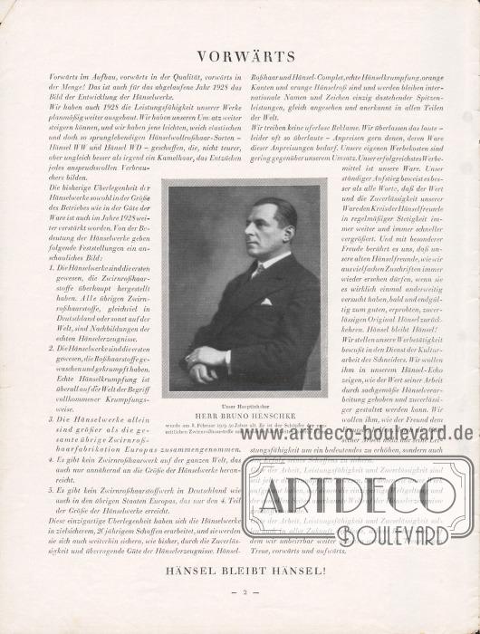 Artikel: O.V., Vorwärts. Mit einer Fotografie des Firmengründers und Hauptinhabers Bruno Henschke, der am 8. Februar 1929 50 Jahre alt geworden ist.