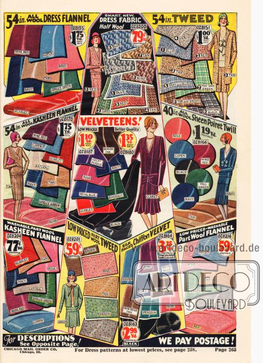 Einfarbige und in sich gemusterte Stoffe zum Selbstnähen, wie Woll-Flanell, Woll-Baumwoll-Mischstoffe, Tweed, Kaschmir-Flanell, Samt, Woll-Poiret-Gewebe und Chiffon-Samt in lebendigen Farben.