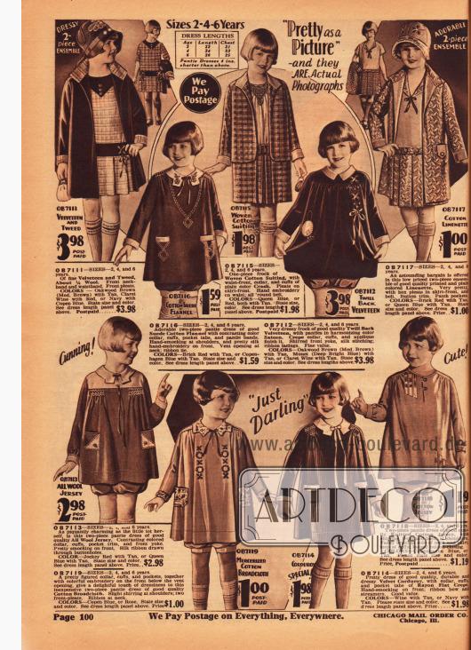 """""""Bloomer dresses"""" (dt. Kleidchen mit Pumphöschen) für Mädchen von 2 bis 6 Jahre für zu Hause oder zum Spielen sowie Kleidchen und Ensembles für die Schule für ältere Mädchen im Alter von 6 Jahren. Die Kleidchen sind aus Samt und Tweed, Baumwolle, Leinen, Baumwoll-Flanell, Samt, Woll-Jersey, Baumwoll-Breitgewebe, Baumwoll-Jersey und Samtkord."""