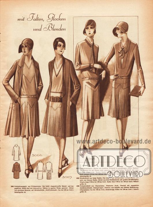 """""""[Kleider für die Frühjahrspromenade] mit Falten, Glocken und Blenden"""".3066: Frühjahrscomplet aus Wollmarocain. Der leicht eingeschweifte Mantel und das gegürtete Kleid sind mit dekorativen Nähten in aparter Weise garniert. Gürtel aus gleichem Material, mit Metallschließe.3067: Frühjahrscomplet. Mantel aus dunklem Wollstoff in geradliniger, weiter Machart. Der Rücken ist mit Biesen reich garniert. Kleid aus hellem Wollstoff mit angesetztem Plisseerock. Breiter Gürtel und Biais [frz.: Winkel, M. K.] in der Farbe des Mantels.3068: Straßenkleid aus beige Kasha. Der eingesetzte Tablier [frz.: Schürze, M. K.] bildet weiche Falten. Aufputz aus blauem Kasha. Gürtel aus dem Kleidmaterial, mit großen Metallknöpfen.3069: Frühjahrskleid aus Charmelaine. Plissierter Rock, Oberteil mit angesetzter Schößchenblende. Umlegekragen, Plastron und Schleife aus lichtem Seidenkrepp."""