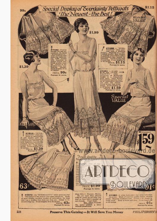 """Petticoats (Unterröcke) der Marke """"Everdainty"""" aus Musselin und Satin mit ornamental bestickten Säumen und Rüschen."""