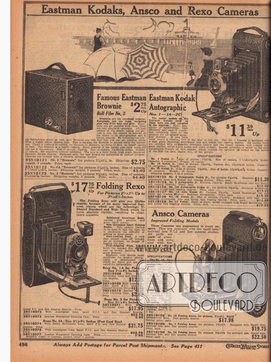 """""""Eastman Kodaks, Ansco und Rexo Fotoapparate"""" (engl. """"Eastman Kodaks, Ansco and Rexo Cameras""""). Rollfilm-Fotokameras zum Ausklappen und Einstellen der Linse der Marken Eastman Kodak, Rexo und Ansco. Oben links ist der berühmte und äußerst günstige Eastman Brownie No. 2 Fotoapparat im Kistenformat (Boxkamera) mit Überzug aus widerstandfähigem Lederimitat zu sehen. Mit dem """"Brownie"""" konnten sechs Fotos gemacht werden, bevor der Rollfilm ausgetauscht werden musste. Die anderen Gerätemodelle sind Eastman Kodak No. 1, 1A und 2C, Rexo No. 1A, 3 und 3A sowie Ansco No. 1A, 3 und 3A."""