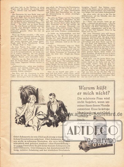 Artikel: Raymond, Eduard, Der Narr und die Prinzessin. Werbung: Odol, Zahnpasta und Mundwasser.