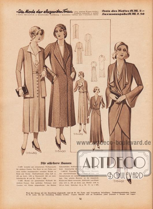 Für stärkere Damen. J 6489: Complet aus gemustertem Wollgeorgette für stärkere Damen. Das Kleid ist mit Falten und einer weißen Seidengarnitur versehen. Knöpfe an Kleid und Weste. Stoffverbrauch: etwa 4,25 m, 130 cm breit, 0,50 m Besatzstoff, 100 cm breit. Schnittgröße 46 und 50. Preis 1 RM. J 6490: Mantel aus gemustertem Wollstoff für stärkere Damen. Den seitlichen Teilungen sind Taschen mit Patten eingearbeitet. Am Rücken Schnitteffekte. Stoffverbrauch: etwa 3,35 m, 130 cm breit. Schnittgrüße 46 und 50. Preis 1 RM. J 6491/92: Ensemble aus schwarzem Marocain. Am dreiviertellangen Mantel sind Kragen und Ärmelvolants mit weißem Crêpe de Chine unterlegt. Das gleiche Material ist für Ausschnittblende und Jabots verwendet. Stoffverbr. zum Kleid: etwa 4,80 m, 100 cm breit, zum Mantel: 2,90 m, 100 cm breit. Schnittgr. 46 u. 50. Pr. je 1 RM. [Seite] 32