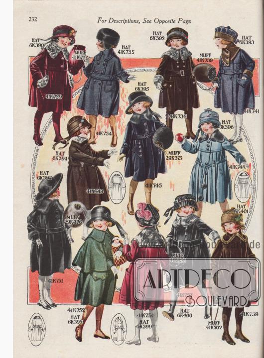 """Zwölf verschiedene Herbst- und Wintermäntel für kleine Mädchen im Alter von 2 bis 6 Jahren. Die knielangen Mäntel sind aus Velours-Plüsch, Woll-Chinchilla, schwerem Woll-Cheviot, Breitgewebe, Webpelz mit Robbenfell-Textur (engl. """"Seal Plush""""), Woll-Polo-Zibeline-Gewebe oder Woll-Breitgewebe zu Preisen von 6,98 bis 15,75 Dollar. Die Pelzverbrämungen bestehen aus Krimmer- (Karakulschaf) und Biber-Webpelz, Chinchilla-Kunstpelz oder echtem Kaninchenfell. Modell 41K752 mit Directoire-Cape. Neben den Mänteln werden auch die passenden Muffe sowie Hüte angeboten."""