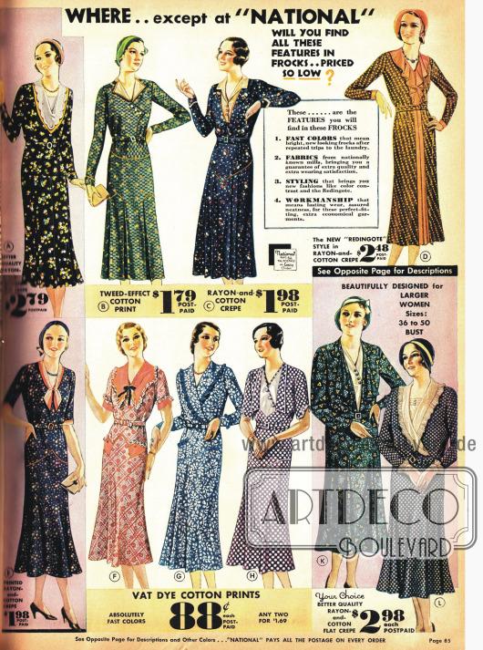 Haushaltskleider aus bedruckten Stoffen in der neuen Mode.