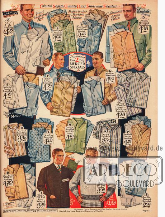 Herrenhemden aus Seide, Rayon gestreiftem Jacquard-Breitgewebe, dickem Rayongewebe, merzerisiertem Breitgewebe, englischem Breitgewebe, gestreiftem Breitgewebe, gestreiftem Seiden-Satin-Breitgewebe und gestreiftem Seiden-Satin Krepp. Unten mittig befinden sich eine Strickjacke aus Wolle und ein Pullover ebenfalls aus Wolle für Männer.