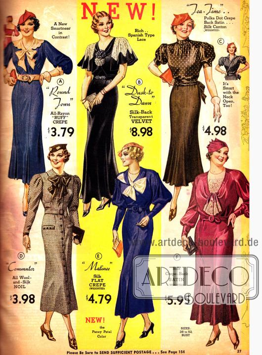 Kleider, Abendkleid und Kostüm in der aktuellen modischen Linie von 1933.