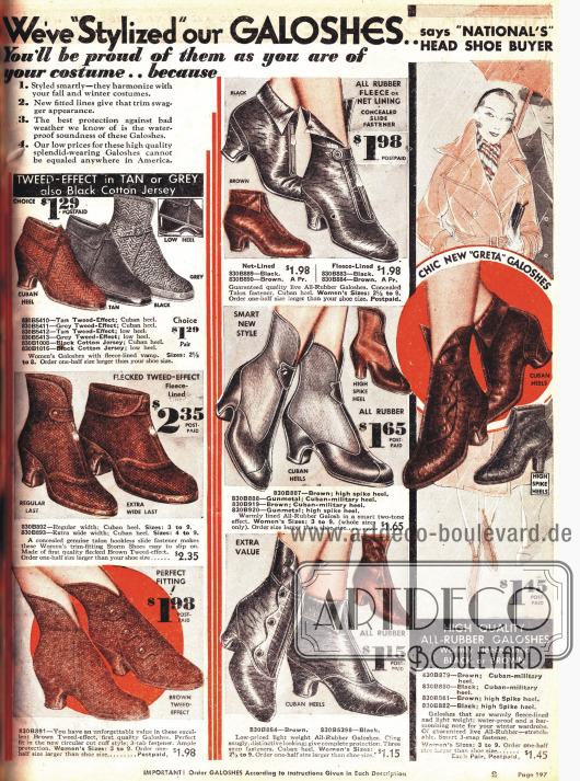 Galoschenüberschuhe passend für jeden Damenschuh und für jedes schlechte Wetter. Galoschen mit Tweed-Effekt, mit Reißverschluss oder auch mit Druckknöpfverschluss.