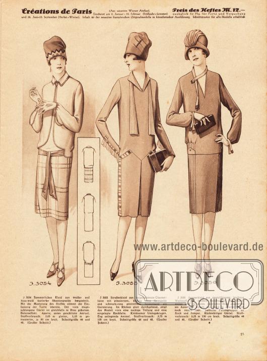 3054: Sommerliches Kleid aus weißer und blau-weiß karierter Shantungseide hergestellt. Mit der Musterung des Stoffes stimmt die Einfassung der Taille überein. Der vorn eingeschlungene Gürtel ist gleichfalls in Blau gehalten. Boleroeffekt. Aparte, unten geschlitzte Ärmel. 3055: Straßenkleid aus beigefarbenem Charmelaine mit plissiertem, kräftig rosa Georgette und schwarz-rosa gestreiftem Seidenband als Garnierung. Im Rücken glatt durchgehend, zeigt das Modell vorn eine zackige Teilung und eine eingelegte Rockfalte. Kleidsamer Umlegekragen. Eng anliegende Ärmel. 3056: Jumperkleid aus pastellblauem, leichtem Wollstoff mit weißem Bandbesatz. Die Bandenden sind in einem dunkleren Blau abgesetzt; am Ausschnitt knöpft das Band in aparter Weise nach rechts über. Seitliche Faltengruppen an Rock und Jumper. Rückwärtiger Gürtel.