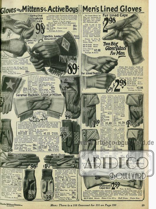 Arbeits- und Sporthandschuhe für Jungen und Männer aus Leder und Wolle.