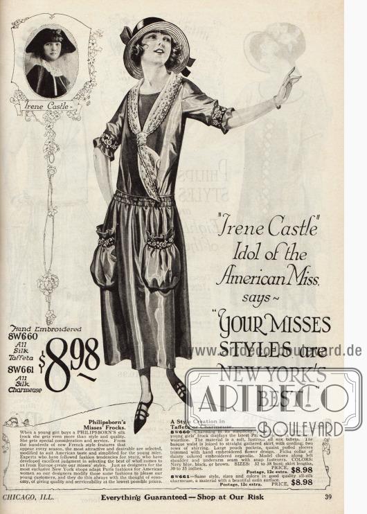 """""""'Irene Castle' Idol of the American Miss, says 'Your Misses Styles are New York's Best!"""" (dt. """"'Irene Caste', Idol aller amerikanischen jungen Frauen, sagt: 'Ihre Mode für junge Damen ist die beste von New York!"""" Das gezeigte Kleid mit großen, aufgesetzten Beuteltaschen, einem vorn zusammengebundenen Fichu-Kragen aus Organdy, einer doppelten Reihenziehung an der Taille und mit einem weit ausfallenden, Falten werfenden Rock kann entweder als Modell aus Seiden-Taft oder aus Seiden-Charmeuse bestellt werden."""