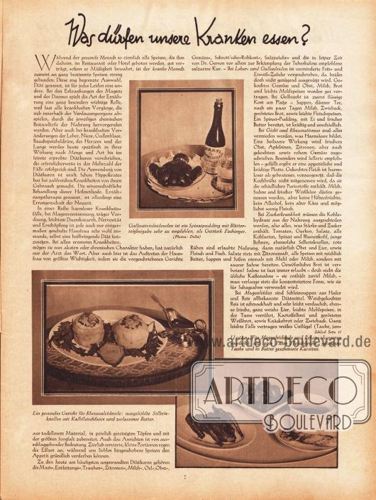 """Artikel:O. V., Was dürfen unsere Kranken essen?Die Bildunterschriften der Fotos lauten """"Gallensteinleidenden ist ein Spinatpudding mit Blätterteigbeigabe sehr zu empfehlen, als Getränk Fachinger"""", """"Ein gesundes Gericht für Rheumaleidende: ausgehöhlte Sellerieknollen mit Kalbfleischfarce und zerlassener Butter"""" und """"Für Magenleidende und Rekonvaleszenten empfiehlt sich eine Tasse Fleischbrühe, gebratene Taube und in Butter geschmorte Karotten.""""Fotos: Delia."""