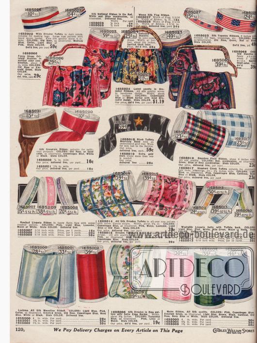 """Ripsbänder, Borten aus Seide und Seiden-Taft mit Blumen- und Blütendekors (hier engl. """"Silk Dresden Taft"""" genannt), Brokatbänder in farbigen, ornamentalen Musterungen zum Herstellen von Hand- und Tragetaschen sowie Lingerie-Satin-, Taft- und Seiden-Messaline Bänder in unterschiedlichen Breiten. Oben auf der Seite sind auch passende Tragegriffe und Handgriffe aus Celluloid für Handtaschen. Zudem finden sich auf der Seite Taft- und Seidenbänder in den französischen und US-amerikanischen Nationalfarben sowie ein schwarzes Trauerband aus Taft mit aufgesticktem goldenen Stern (engl. """"Worn for men lost in service"""")."""