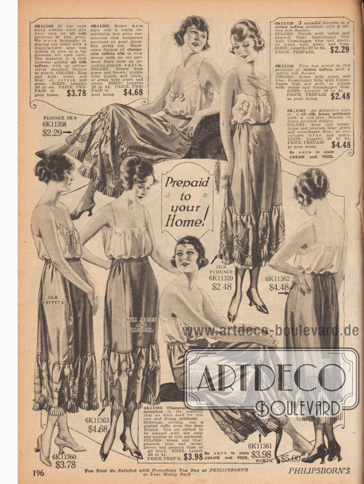 """Unterröcke (""""Petticoats"""") für Damen aus Seiden- oder Baumwoll-Taft, Seiden Jersey oder Messaline (glänzendes Seidengewebe). Plisseestoff, Rüschen und biesenverzierte Rockstufen verhelfen dem Kleid zu größerer Weite."""