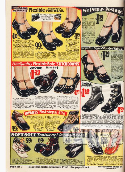 """Schuhe aus Lackleder und Lammleder für Kleinkinder und kleine Mädchen mit weichen Sohlen – """"Babys 'erste Schritte"""" (engl. """"Infants 'First-steps!""""). Viele Schuhe werden über eine Schnalle geschlossen. Unten rechts (mittig) eine römische Sandale mit mehreren Schnallen, """"der Aristokrat unter den Baby-Schuhen"""" (engl. """"the aristocrat of baby shoes""""). Gerade die ersten Babyschuhe unten links sind aus besonders weichem Material gefertigt, um die empfindlichen und im Wachstum befindlichen Babyfüße zu schonen."""