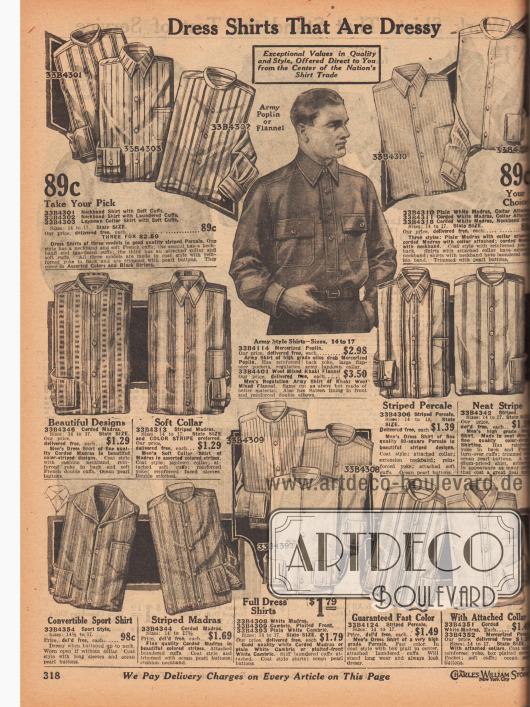 """""""Anzughemden die schick sind"""" (engl. """"Dress Shirts That Are Dressy""""). Anzughemden aus gestreiften und gemusterten Stoffen wie Perkal, Madras, geripptem Madras oder merzerisiertem Pongee. In der Mitte wird ein Hemd im Militärstil aus Khaki-Woll-Mischgewebe mit zwei Brusttaschen gezeigt. Viele Hemden werden ohne Kragen geliefert. Diese müssen separat gekauft werden. Unten links befindet sich ein Sporthemd mit konvertierbarem Kragen."""