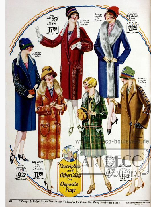 Mäntel für junge Frauen und Mädchen aus Woll-Velours, Velours und lederartigem Woll-Velours. Kaninchen- und Mufflonpelz (Wildschaf) dienen als leichter Besatz der Frühjahrsmäntel. Die unteren drei Modelle zeigen große Taschen während bei oberen Taschen fehlen.
